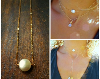 Pearl choker necklace, minimal jewelry, gold choker, freshwater pearl necklace, bridesmaid gift, coin pearl, gold fill, adjustable, otis b