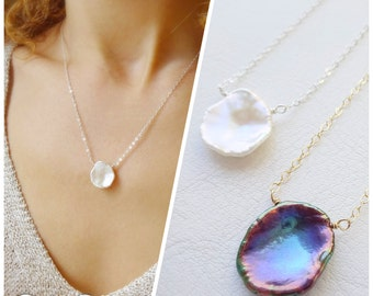 Natural Keshi Pearl Necklace, Petal, white pearl necklace, pearl solitaire, minimal necklace, layering necklace, bridesmaid jewelry, otis b