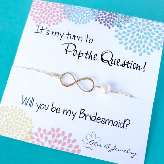 Be my bridesmaid, bridesmaid gift, Infinity necklace, be my maid card, pearl necklace, bridal jewelry, thanking bridesmaids, otis b