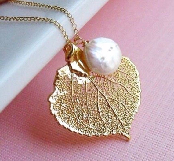 Real Aspen Leaf Necklace, Custom Birthstone or Pearl, Bridesmaid Gifts, real leaf necklace, leaf jewelry