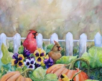 Original Painting Cardinal Red Bird Goldfinch Pumpkins Wildlife