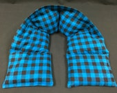 XL Flannel Heated Neck Warmer, Corn Heating Pad, Heated Neck Wrap, Hot Cold Physical Therapy Wrap - Black and Blue Check