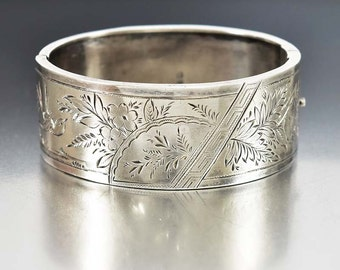 Silver Victorian Cuff Bracelet, Sterling Silver Engraved English Bangle Bracelet, Antique Jewelry, Victorian Jewelry, Aesthetic Jewelry