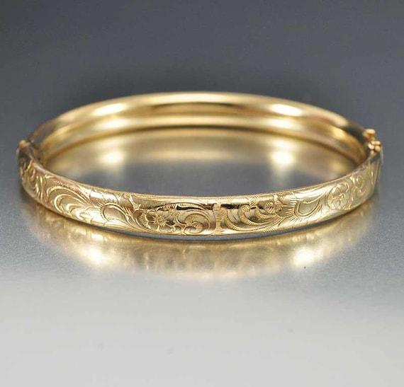 Victorian 14K Rolled Gold Bracelet Pansy Engraved by boylerpf