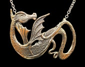 Dragon Necklace Renaissance Bronze Wyvern Dragon Pendant Dragon Jewelry Dragon Jewelry Dragon Necklace Game Of Thrones Inspired