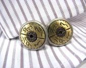 Cuff Links Round Brushed Silver Bronze Mens Cufflinks Women's Hieroglyphics design Upcycled