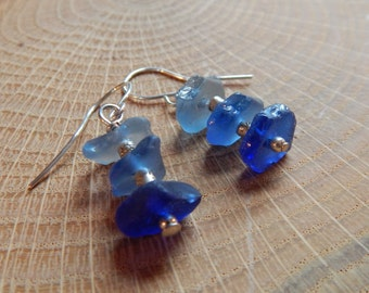 Rare Blue Sea Glass Tri-Color Earrings, 3 shades blue beach glass earrings, sea glass jewelry, beach glass jewelry, sterling silver dangle