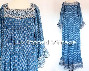 70s Vintage Rare Burdines Boho Kaftan India Indian Empire Goddess Festival Gypsy Maxi Dress | XS - SM | 1109.9.18.15