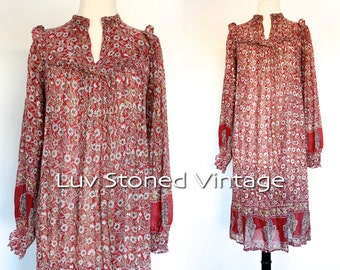 Vintage 70s Bawas Indian Tent Tunic Boho Hippie Cotton Gauze Gypsy India Festival Midi Dress | XS - SM | 1118.9.21.15