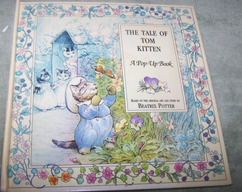 """Vintage Child's Pop Up Book, """"Tale of Tom Kitten"""" by Beatrix Potter, Perfect Condition,"""