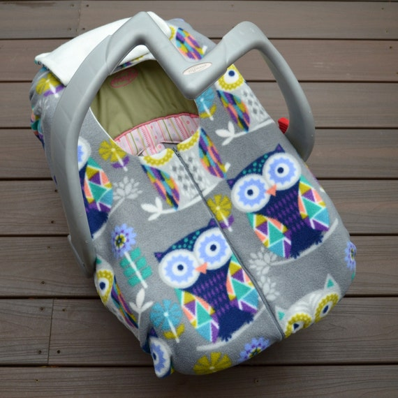 owls on grey car seat cover for winter baby funky owl fleece. Black Bedroom Furniture Sets. Home Design Ideas