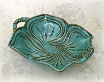 Decorative Serving Dish in Speckled Aqua