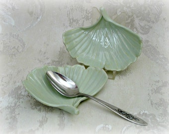 Pair Pastel Green Ginkgo Leaves In Semi Porcelain
