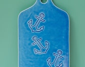 Anchor cheese board in blue
