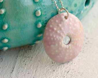 pink urchin pendant, porcelain