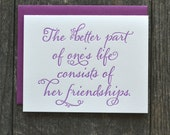 SALE - Letterpress friendship card - purple - single folded card with friendship quote