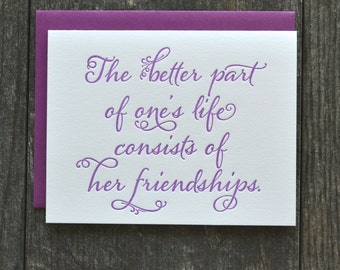 Letterpress friendship card - purple - single folded card with friendship quote
