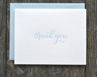 SALE - Letterpress folded thank you cards - set of 12 - light blue calligraphy font