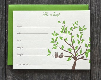Owls birth announcement fill in the blanks - set of 5 - chocolate brown and grass green