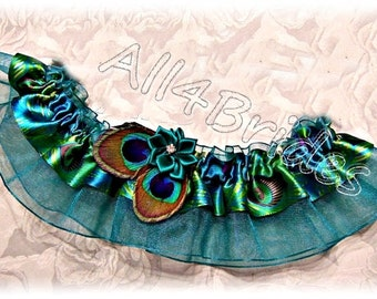 Peacock Wedding Bridal Garter Belt  Teal Wedding Leg Garter