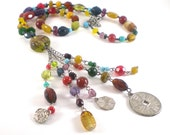 Colorful Glass Tassel Charm Necklace Vintage Boho Chic Jewelry
