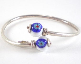 Evil Eye Bracelet Blue White Millefiori Glass Flexible  Bangle Vintage European Jewelry