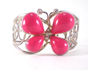 Pink Butterfly Cuff Bracelet Silver Enamel Best Jewelry Makers 1980s Boho Chic Vintage Jewelry