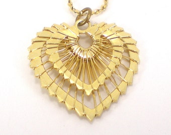 Gold Heart Necklace - Wrap Wire Heart Pendant - Valentine Love Vintage Jewelry