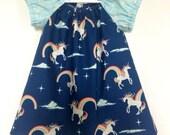 Unicorn Tunic, Retro Unicorn Shirt, Baby Toddler Girls Shirt