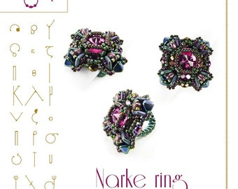 Beading tutorial / pattern Narke ring with Quadra tile. Beading instruction in PDF – for personal use only