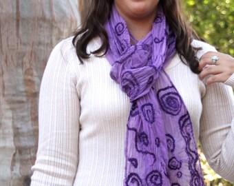 Purple Lavendar Silk Gauze & Hand Dyed Ultra Fine Merino Wool Pine Needle Nuno Felted Scarf OOAK Gift for Her