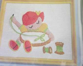"Vintage Studio Twelve ""Sally"" Stitchkins Complete Crewel Kit NIP She Is Embroidering On A Hoop - So Cute!"
