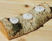 Birch log tea light holder - 3 candles
