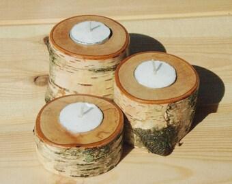Birch wood tea light holders - set of 3 in graduated sizes