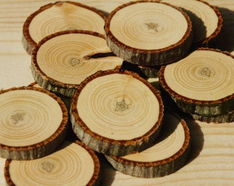 Bitternut Hickory buttons/slices/discs- 12 pc. set
