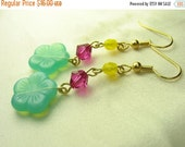 Green flower earrings ... green glass flowers with pink Swarovski and yellow beads ... hawaiian hello