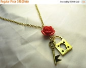 Lock key flower necklace ... lock and key charms with red rose necklace ... you hold the key