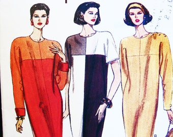 1990s Vogue Dress Pattern Misses size 8 10 12 UNCUT Womens Color Block Dress, Shift Dress Pattern Easy to Sew
