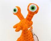 Stocking Stuffer Toys for Boys, Weird Keychain, Alien Keychain, Orange Keychain, Zipper Pull by Adopt an Alien named Rex