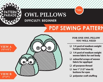 Owl Pillows – PDF Sewing Pattern