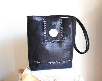 Purse...Shoulder Bag...Elegant Tote...Black...French Script...Hand Made...Button on the flap optional