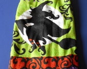 Halloween Witch Towel/Double Hanging Crocheted Kitchen Towel