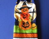 Halloween Pumpkin Tower Towel/Double Hanging Crocheted Kitchen Towel
