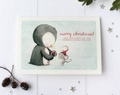"christmas  card - penguin - mouse - candy cane - winter - holiday - illustration - ""SWEET SPIRIT""."