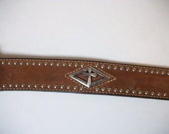 Nocona Brown Leather Belt Mens Size 46 Western Belt Cross Christian Designs Pre-owned