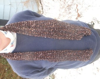 hand knit brown scarf