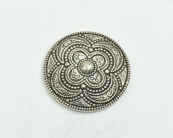 Button , flat back antique silver finish,  30mm sold 3 per package 09512AS