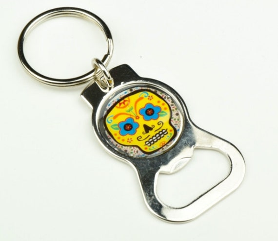 day of the dead custom key chain and bottle opener by. Black Bedroom Furniture Sets. Home Design Ideas