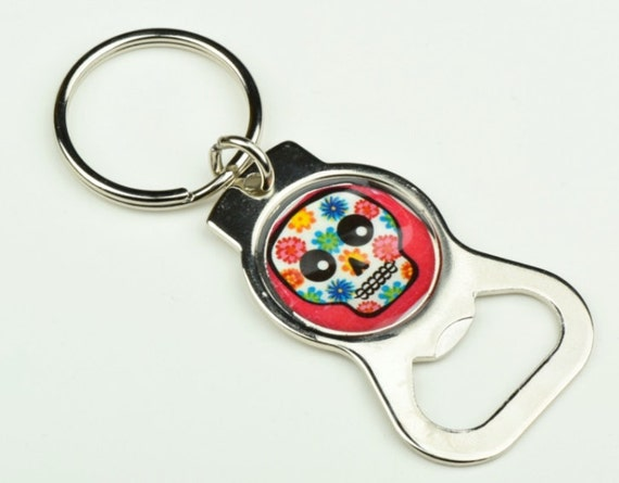 day of the dead custom key chain and bottle opener each my sugar skulls. Black Bedroom Furniture Sets. Home Design Ideas