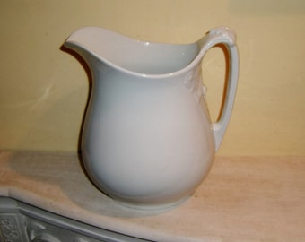 Antique White Ironstone Pitcher Full Body Charles Meakin Royal England English 19th Century 1870-1882
